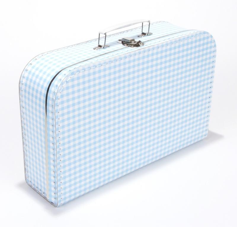 Koffer licht blauw geruit 35 cm