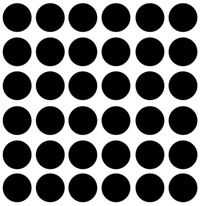 Muurstickers, om je witte muur met stipjes te beplakken doorsnee 4 cm 36 stuks kleur zwart.