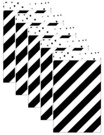 5  Cadeau zakjes,  zwarte wit gestreept 12 bij 19 cm.