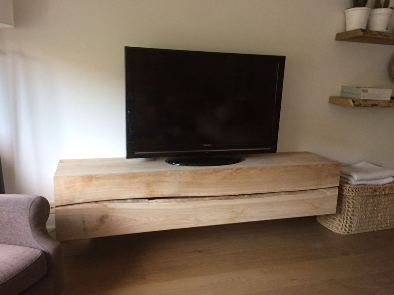Massief Eiken Houten Tv Kast.Massief Eiken Tv Meubel Zwevend Eiken Dressoir Tv Kast