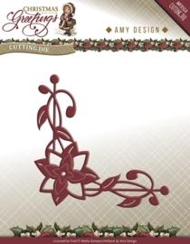 Die - Amy Design - Christmas Greetings - Poinsettia Corner ADD10071