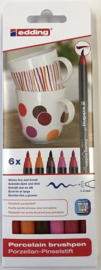 Edding Porcelein brushmarkers set 6 st Warm