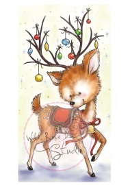 Wild Rose Studio`s A7 stamp set Reindeer with Baubles CL421