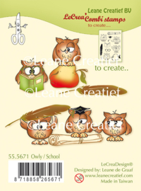 LeCreaDesign® combi clear stamp Owly / School 55.5671