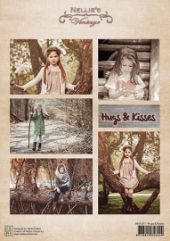 Decoupage sheet vintage - Hugs & kisses NEVI071