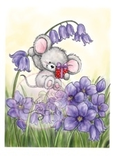 Wild Rose Studio`s A7 stamp set Mouse on Bluebell CL378