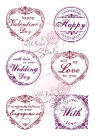 Wild Rose Studio`s A7 stamp set Romantic Greetings CL371