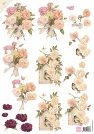 3D Knipvellen Mattie - pink roses - MB0141