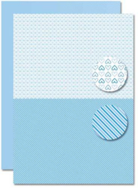 Decoupage sheet - Doublesided - Lightblue - Babyboy-hearts  NEVA077