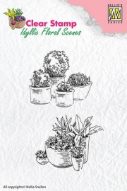 Nellie Snellen Clear Stamps - Pots with flowers  IFS003