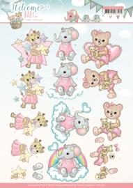3D Knipvel - Yvonne Creations- Welcome Baby - Little Girl CD11325
