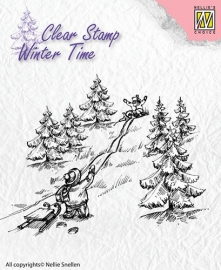 NS Clear Stamps - Winter Time - Sledge fun  WT003