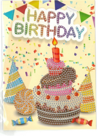 Happy Birthday Taart 13 x 18 cm