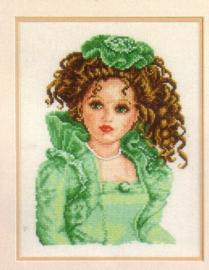 Telpakket Pop met groen Victoriaans kleed 2002/75.031