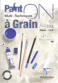 Paint'on Multi Techniek à Grain A4, 250g/m² 20 vellen Wit