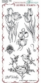 Spring Bird Tulip Rubber Stamp sheet - DL 0507