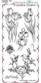 Spring Bird Tulip Rubber Stamp sheet - DL 0507