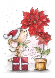 Wild Rose Studio`s A7 stamp set Mouse and Poinsettia CL424