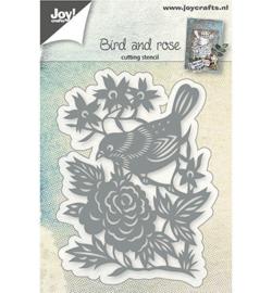 Joy! snij- embossingmal Vogel met roos 6002/0765