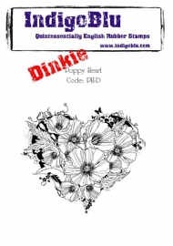 IndigoBlu Poppy Heart Dinkie Mounted A7 Rubber Stamps (PH-D