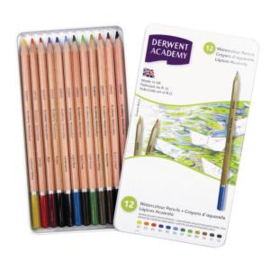 Derwent Academy 12 watercolour pencils karton