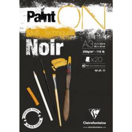 Paint On Noir A3 250gr 20 vellen