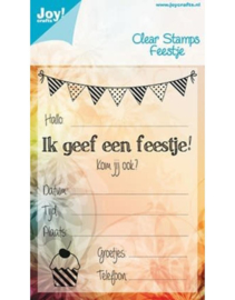 Joy Crafts clearstempel feestje 6410/0081