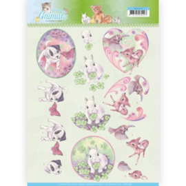CD11275 3D knipvel - Jeanine's Art - Young Animals - Cuties in Purple