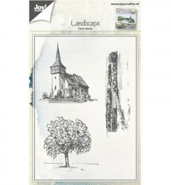 Joy! Clearstamp Tafereel Kerk,Boom,Landschap 6410/0418