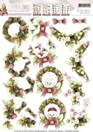 3D Knipvel - Precious Marieke - Charming Xmas - Wreaths HJ12401-CD10526