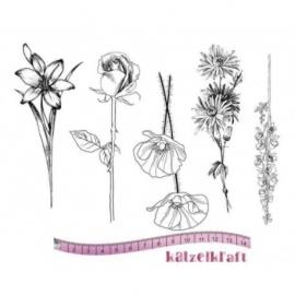 KatzelKraft rubberstempel KTZ134 Fleurs