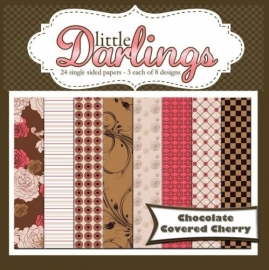 Little Darlings 24 single sided papers Chocolate/Cherry