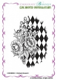 Harlequin Bouquet Individual cling mounted rubber stamp 054