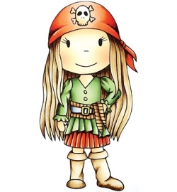 Paper Nest Dolls Rubber Stamps - Pirate Avery PND2014