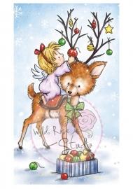 Wild Rose Studio`s A7 stamp set Angel on Reindeer CL420