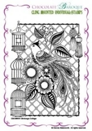 Birdcage Collage cling mounted rubber stamp 0031
