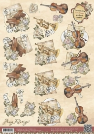 3D Knipvel - Amy Design - Vintage - Kerst Instumenten HJ11301