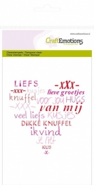CraftEmotions clearstamps A6 - hart `veel liefs` (NL) 1106