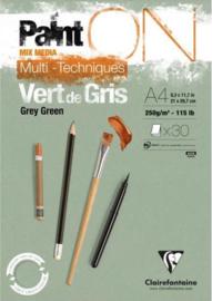 Paint'on Multi Techniek Vert A4, 250g/m² 30 vellen Grijs-groen