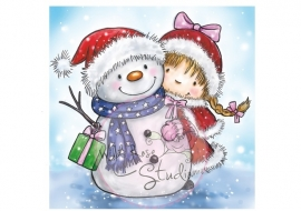 Wild Rose Studio`s A7 stamp set Girl and Snowman CL419