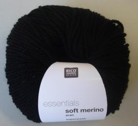 Soft Merino aran Kleur 90 zwart