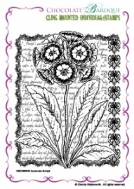 Auricula Script cling mounted rubber stamp 0033