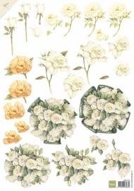 3D Knipvellen Mattie - white roses - MB0142