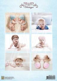 Decoupage sheet - Vintage - Baby-serie - Twins  NEVI074