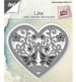 Joy! snij- embossingmal  Hart met bloemen/vlinders 6002/0664