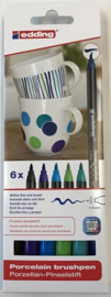 Edding Porcelein brushmarkers set 6 st cool