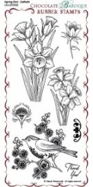 Spring Bird Daffodil Rubber Stamp sheet - DL 0508
