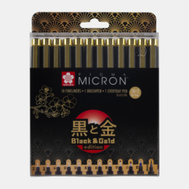 Sakura Pigma Micron Black & Gold Edition Set 10+2 For Free