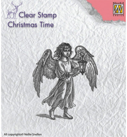 NS Clearstamp Angel with lantern CT021