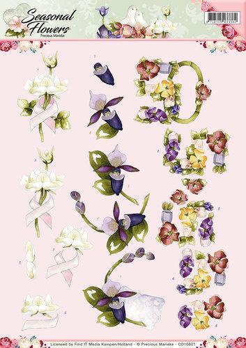 3D Knipvel - Precious Marieke - Seasonal Flowers - Felicitatie  CD10801